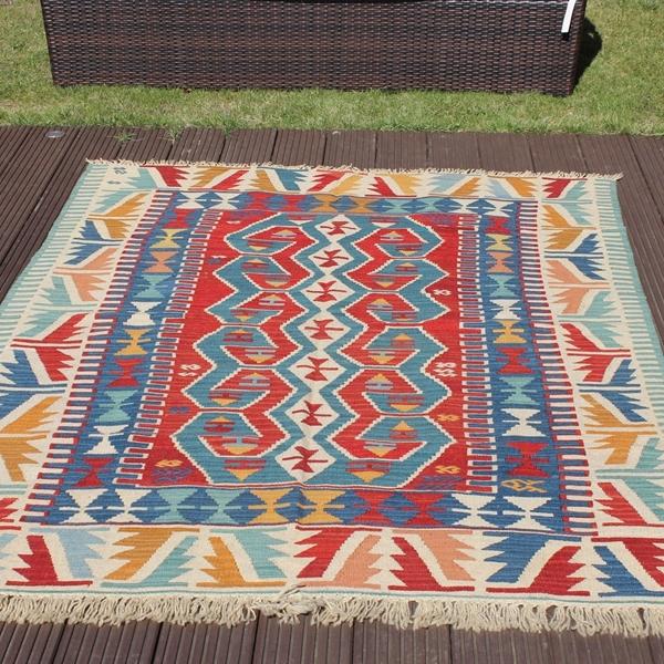 Floor Large Rugs Red Vegetable Kilim